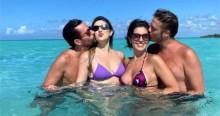 A vida é bela: Dani Calabresa e Fábio Porchat curtem férias juntos no Caribe