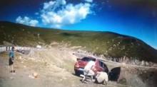 VÍDEO: Na China, família para em penhasco e carro cai com uma pessoa a bordo