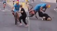 VÍDEO: Na Espanha, mulher atravessa pista e é atropelada por ciclista que liderava a corrida