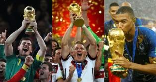 Os últimos campeões do Mundo (CRÉDITO: GETTY IMAGES; SHAUN BOTTERILL/FIFA; KAI PFAFFENBACK/REUTERS)