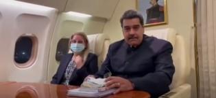 Nicolás Maduro e a mulher no avião presidencial (CRÉDITO: REPRODUÇÃO)