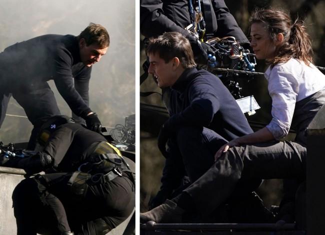 Tom Cruise ajuda cameraman e descansa com Hayley Atwell (CRÉDITO: THE GROSBY GROUP)