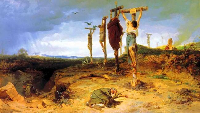 Uma pintura mostrando os insurgentes crucificados ao longo da estrada Apia de Roma a Cápua (CRÉDITO: FYODOR BRONNIKOV)