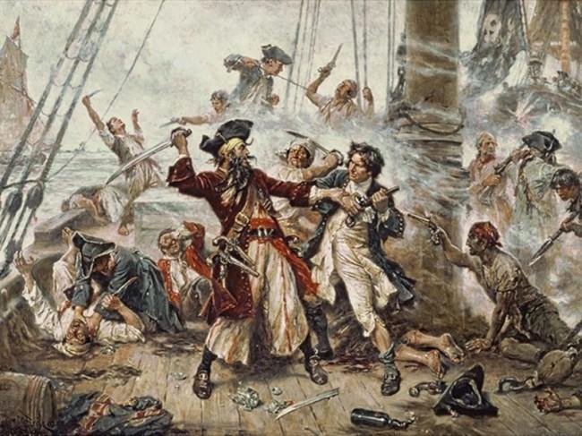 A captura do pirata Barba Negra, pintura de 1718 (CRÉDITO: JEAN LEON GEROME FERRIS)