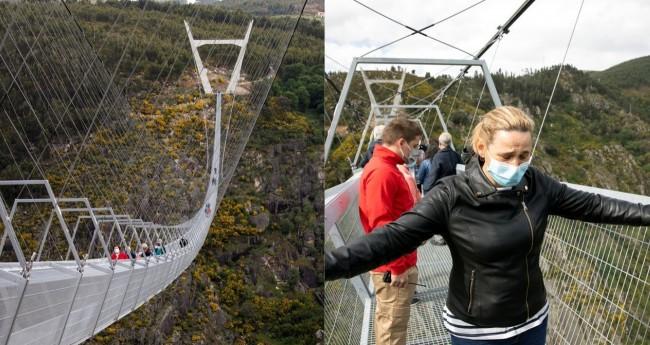 Batizada de 'Arouca 516', a ponte fica escondida entre montanhas em Portugal (CRÉDITO: VIOLETA SANTOS MOURA/REUTERS)