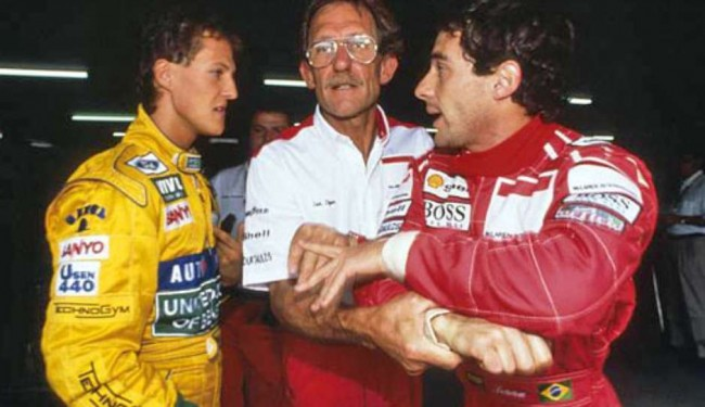 Senna quase agrediu Schumacher quando estava na McLaren (CRÉDITO: DIVULGAÇÃO)
