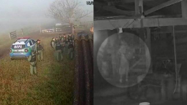 A mobilização policial na fazenda invadida por Lázaro e o suspeito, de mochila (CRÉDITO: REPRODUÇÃO)