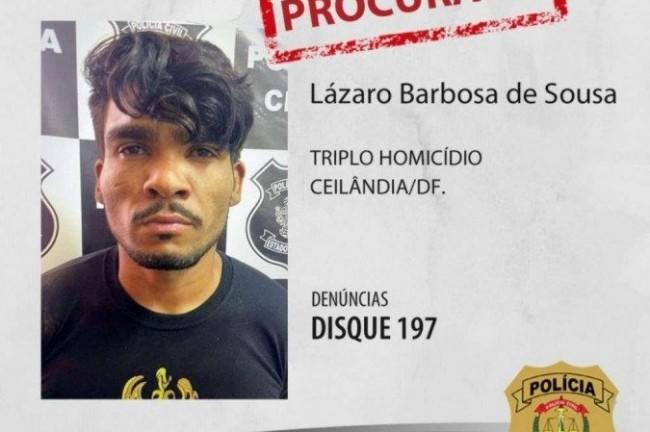 Polícia divulgou a foto de Lázaro Barbosa de Souza, que teria cometido triplo homicídio (CRÉDITO: PCDF)