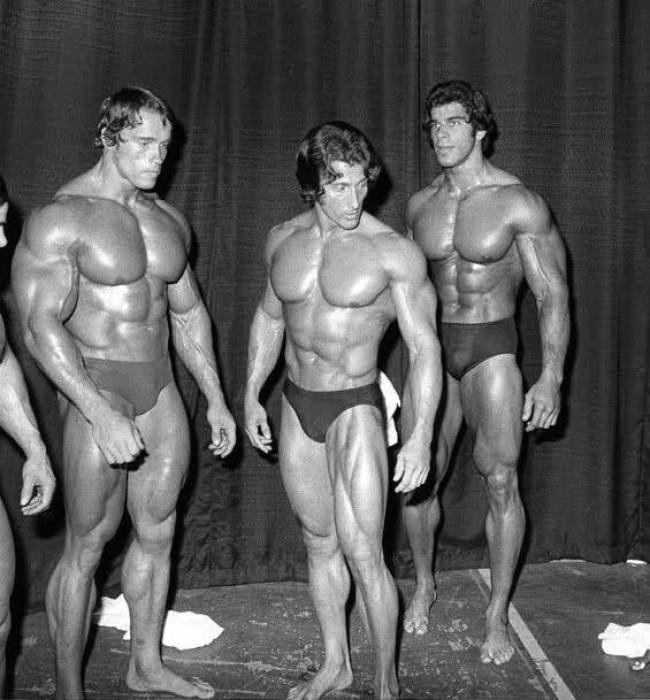 Arnold Schwarzenegger, Frank Zane e Lou Ferringo, em 1974 (CRÉDITO: REPRODUÇÃO/INSTAGRAM)